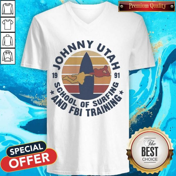 Johnny Utah 1991 School Of Surfing And FBI Training Vintage Retro T-V-neck