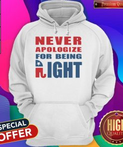 Never Apologize For Being Right Elephant Hoodie