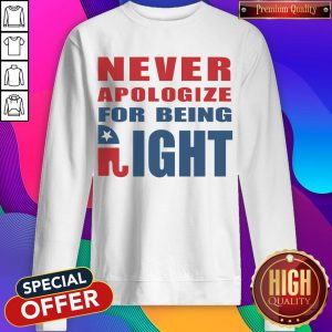 Never Apologize For Being Right Elephant Sweatshirt
