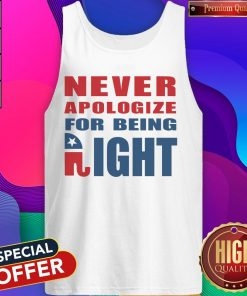 Never Apologize For Being Right Elephant Tank Top