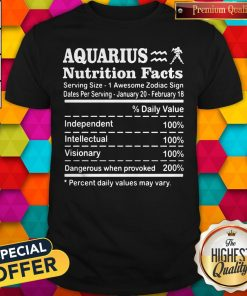Nice Aquarius Nutrition Facts Serving Size 1 Awesome Zodiac Sign Dates Per Serving January 20 February 18 Shirt