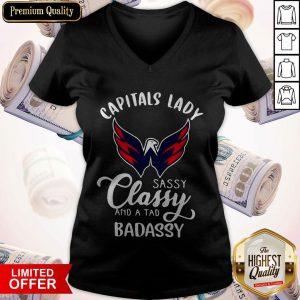 Nice Capitals Lady Sassy Classy And A Tad Badassy V-neck