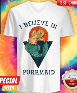 Nice Cat I Believe In Purrmaid Sunset V-neck