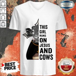 Nice Pretty This Girl Runs On Jesus And Cows V-neck