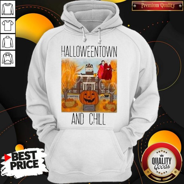 Official Halloweentwon And Chill Pumpkin Hoodie