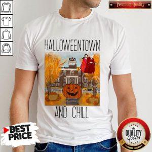 Official Halloweentwon And Chill Pumpkin Shirt