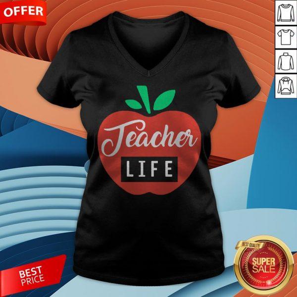Teacher Pencil Shirt Teacher Life Apple V-neck