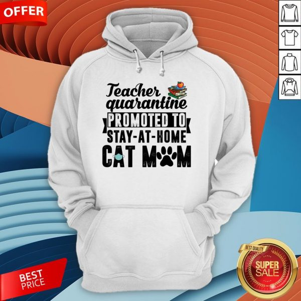 vTeacher Quarantined Promoted To Stay At Home Cat Mom Hoodie