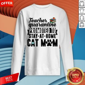 Teacher Quarantined Promoted To Stay At Home Cat Mom Sweatshirt