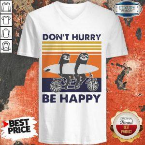 Top Penguin Don't Hurry Be Happy Vintage Retro V-neck
