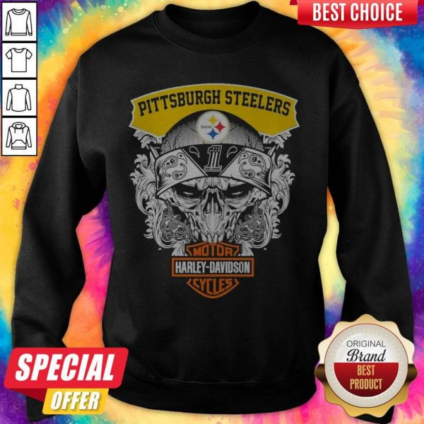 Top Skull Motor Harley Davidson Pittsburgh Steelers Sweattshirt