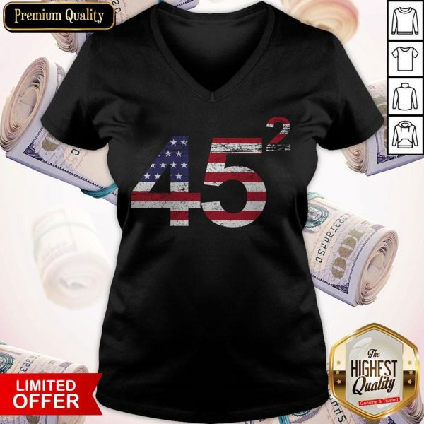 Trump 45 Squared Republican American Flag Independence Day V-neck