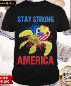 Turtle Face Mask Stay Strong American Flag Shirt