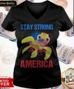 Turtle Face Mask Stay Strong American Flag V-neck
