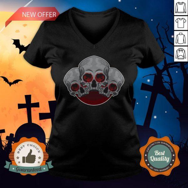 Sugar Skull Red Halloween Day Of Dead V-neck
