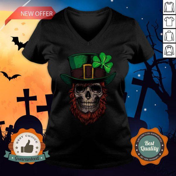 Saint Patrick's Skull Man Day Of Dead Muertos V-neck
