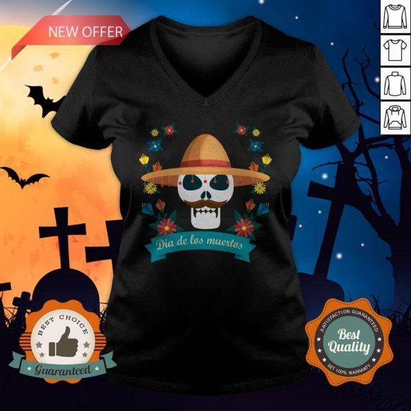 Sugar Skull Man Day Of Dead Dia De Muertos V-neck