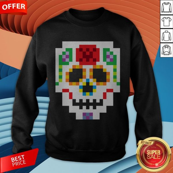 8-Bit Lego Sugar Skull Day Of The Dead T-Sweatshirt
