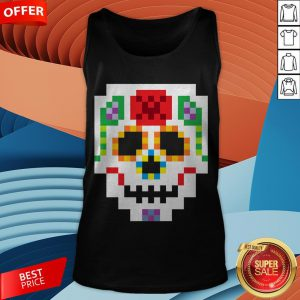8-Bit Lego Sugar Skull Day Of The Dead T-Tank Top