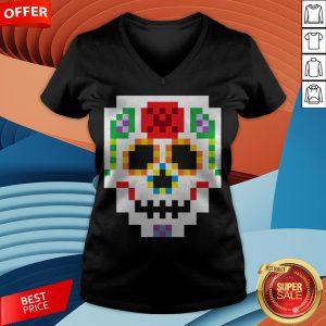 8-Bit Lego Sugar Skull Day Of The Dead T-V-neck
