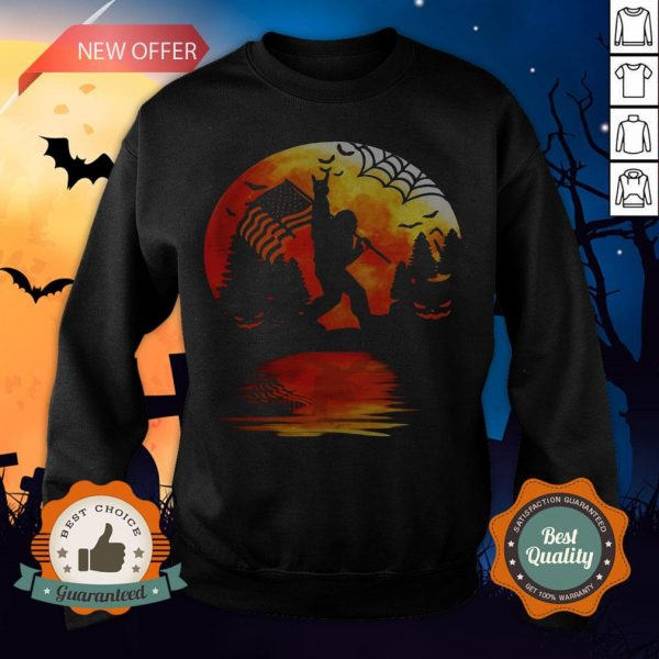 Bigfoot Holding American Flag Moon Halloween Sweatshirt