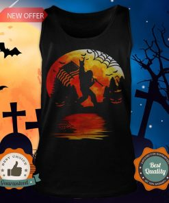Bigfoot Holding American Flag Moon Halloween Tank Top