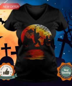 Bigfoot Holding American Flag Moon Halloween V-neck