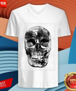 Black And White Skull Day Of Dead Dia De Los Muertos V-neck