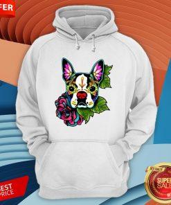 vBoston Terrier In Black - Day Of The Dead Sugar Skull Dog Hoodie