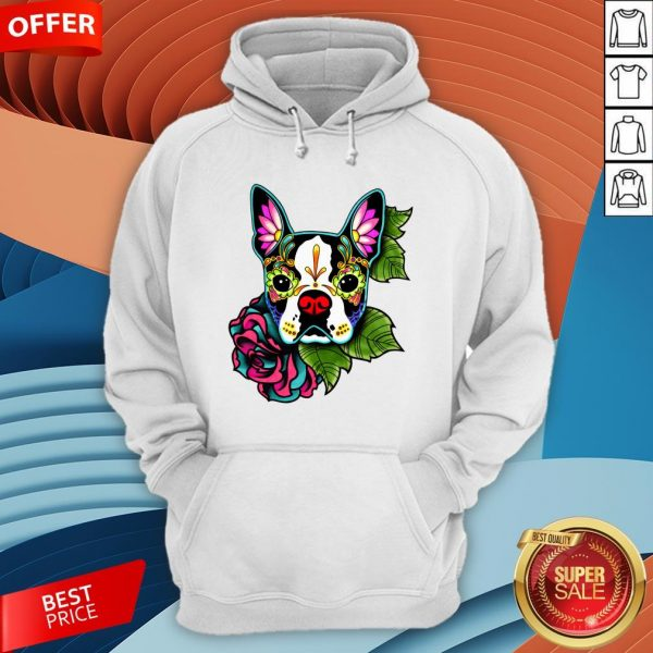 vBoston Terrier In Black - Day Of The Dead Sugar Skull Dog Hoodie