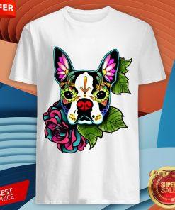 Boston Terrier In Black - Day Of The Dead Sugar Skull Dog ShirtBoston Terrier In Black - Day Of The Dead Sugar Skull Dog Shirt