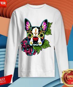 vBoston Terrier In Black - Day Of The Dead Sugar Skull Dog Sweatshirt