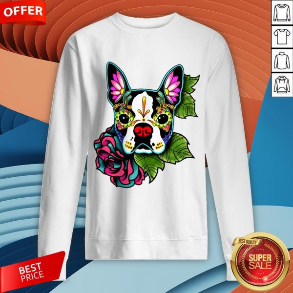 vBoston Terrier In Black - Day Of The Dead Sugar Skull Dog Sweatshirt