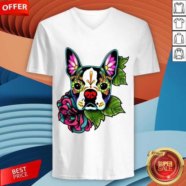 Boston Terrier In Black - Day Of The Dead Sugar Skull Dog V-neck