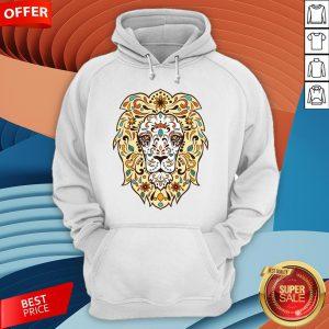 Colorful Lion Head Sugar Skull Day Of The Dead Dia De Los Muertos Hoodie