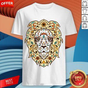 Colorful Lion Head Sugar Skull Day Of The Dead Dia De Los Muertos Shirt