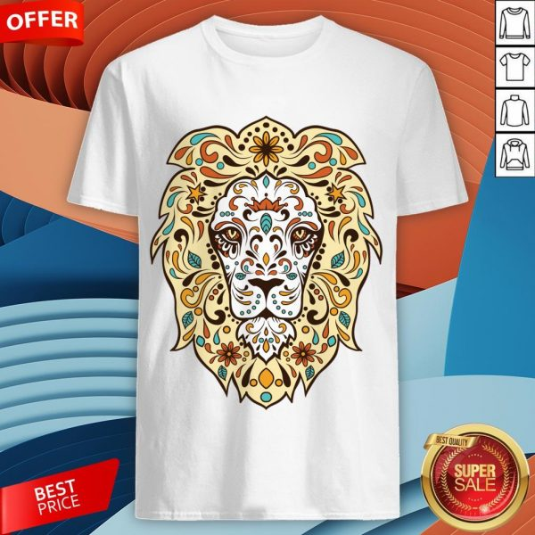 Colorful Lion Head Sugar Skull Day Of The Dead Dia De Los Muertos Shirt