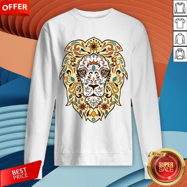 Colorful Lion Head Sugar Skull Day Of The Dead Dia De Los Muertos Sweatshirt