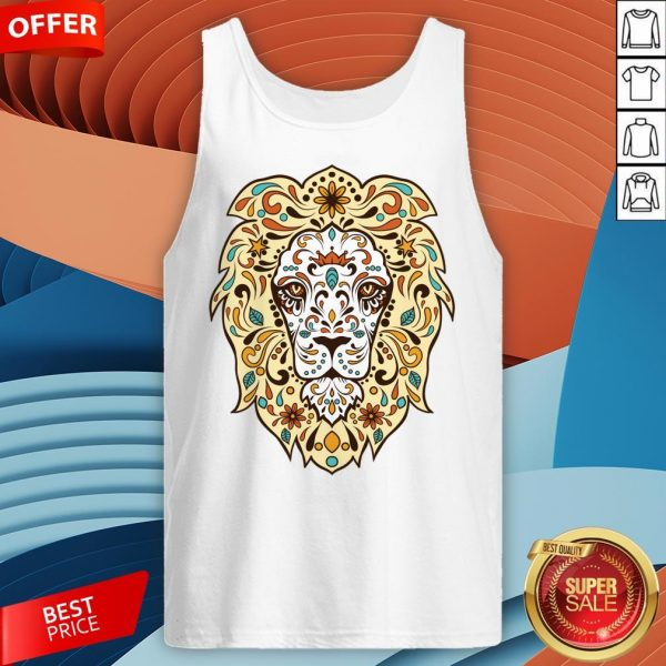 Colorful Lion Head Sugar Skull Day Of The Dead Dia De Los Muertos Tank Top
