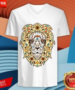 Colorful Lion Head Sugar Skull Day Of The Dead Dia De Los Muertos V-neck