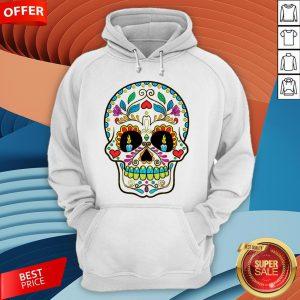 Colorful Retro Floral Sugar Skull Day Of The Dead Dia De Los Muertos Hoodie