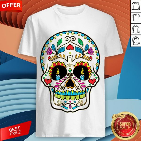 Colorful Retro Floral Sugar Skull Day Of The Dead DColorful Retro Floral Sugar Skull Day Of The Dead Dia De Los Muertos Shirtia De Los Muertos Shirt