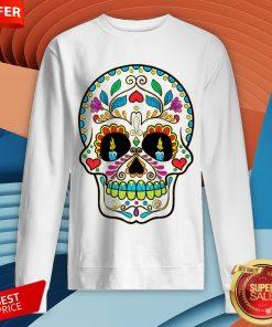 Colorful Retro Floral Sugar Skull Day Of The Dead Dia De Los Muertos Sweatshirt
