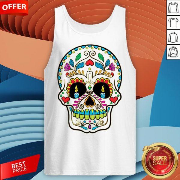 Colorful Retro Floral Sugar Skull Day Of The Dead Dia De Los Muertos Tank Top