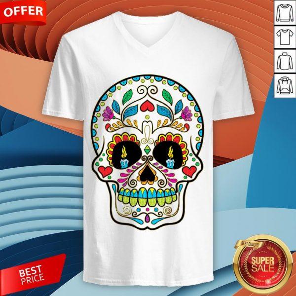 Colorful Retro Floral Sugar Skull Day Of The Dead Dia De Los Muertos V-neck