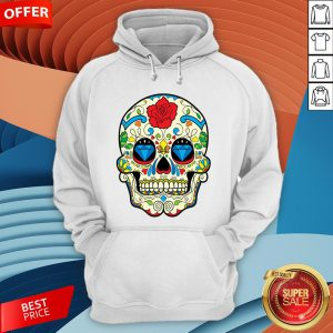 Colorful Retro Floral Sugar Skull Day Of The Dead T-Hoodie