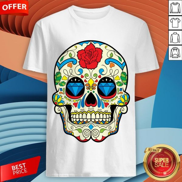Colorful Retro Floral Sugar Skull Day Of The Dead T-Shirt
