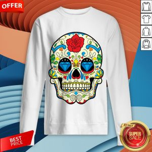 Colorful Retro Floral Sugar Skull DayColorful Retro Floral Sugar Skull Day Of The Dead T-Sweatshirt Of The Dead T-Sweatshirt