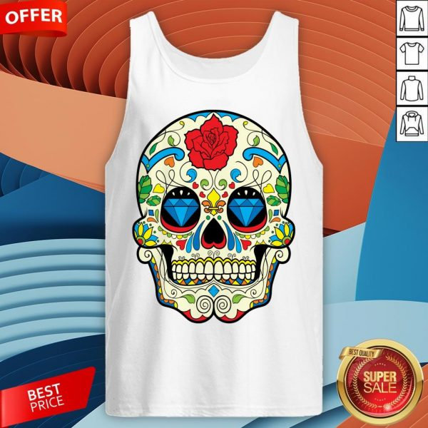 Colorful Retro Floral Sugar Skull Day Of The Dead T-Tank Top