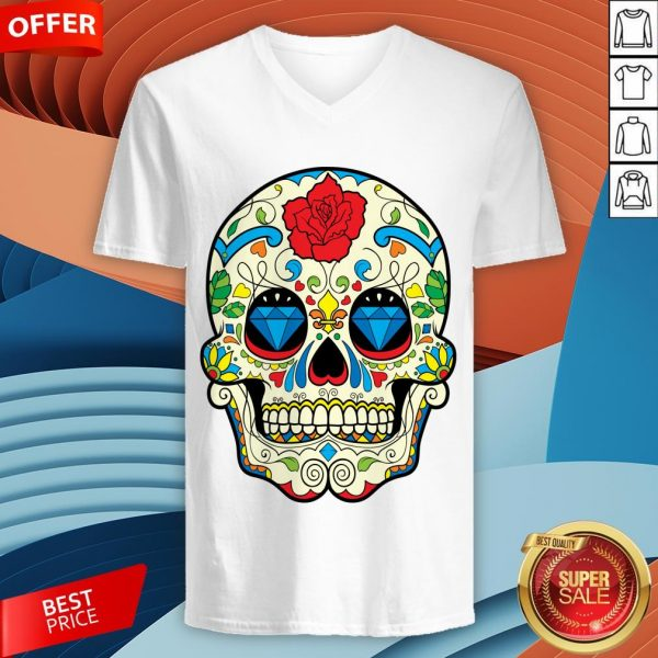 Colorful Retro Floral Sugar Skull Day Of The Dead T-V-neck